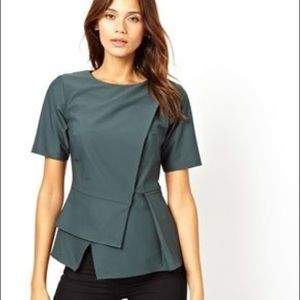 Asos Origami Peplum Top - Dark Green
